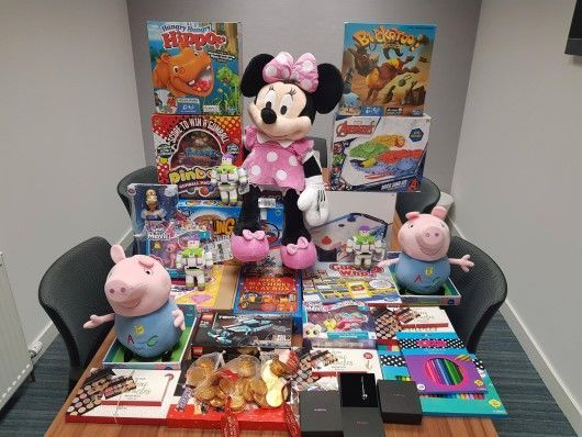 Donations in our Digby Brown Aberdeen office for Cash for Kids Mission Christmas