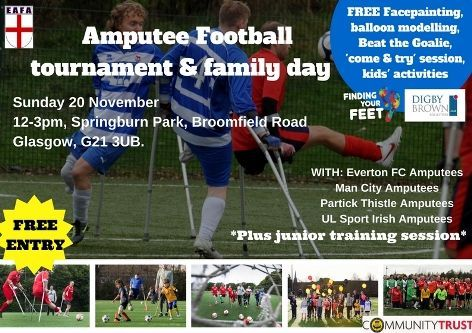 Flyer for amputee football tournament in Glasgow on November 20th
