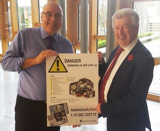 Asbestos Action John Fearn, Iain Gray MSP at Scottish Parliament 2017