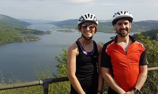 Lee Murray and Chantelle Robertson from the Ayr office admire the scenery during the 5 ferry challenge 2018