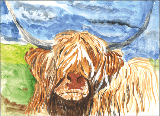 Headway Calendar Winner for July 2016 - Bill Cowan from Headway Ayrshire. Painting of Highland Cow
