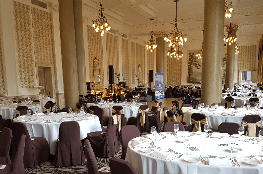 Balmoral Hotel, Edinburgh all set up for Digby Brown fundraiser dinner for Child Brain Injury Trust
