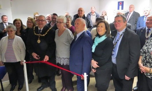 Clydebank Asbestos Group opening ribbon cutting with Digby Brown