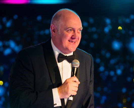 Dara Ó Briain live on stage in Glasgow at the Winter Dinner Dance for Spinal Injuries Scotland