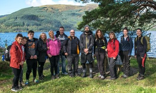 Digby Brown Glasgow team before climbing Ben Lomond for Macmillan