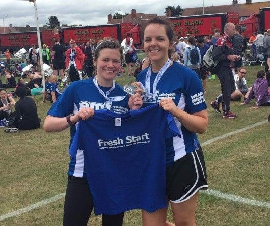 Solicitors Kim Catterall and Carrie-Anne Mackenzie from Digby Brown Edinburgh office ran the half marathon at the Edinburgh Marathon for Fresh Start