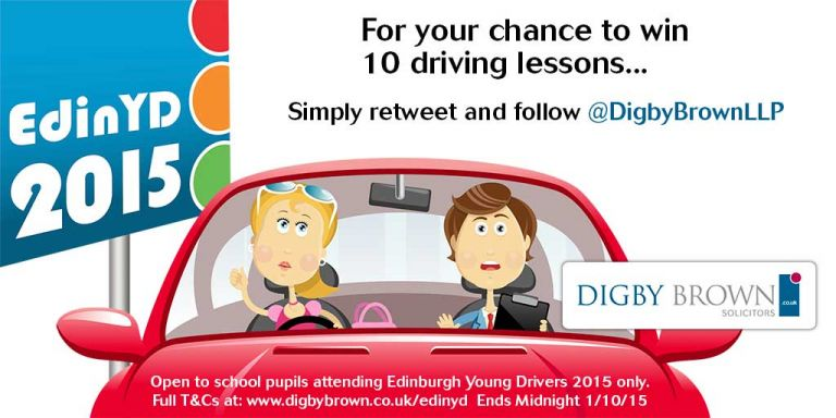 Edinburgh Young Driver's 2015 Competition tweet to win 10 driving lessons