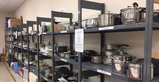 Fresh Start warehouse filled with crockery