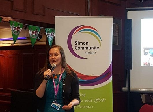 Jenna Ingram from Simon Community Scotland starts the Digby Brown race night in Glasgow