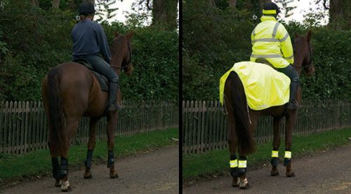 Two examples of horse riding on the road - and the difference high visibility clothing can make