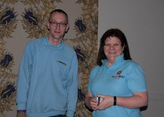 Graeme Watson and Ruth Webster from The Hive Project at Inverness Race Night 2019