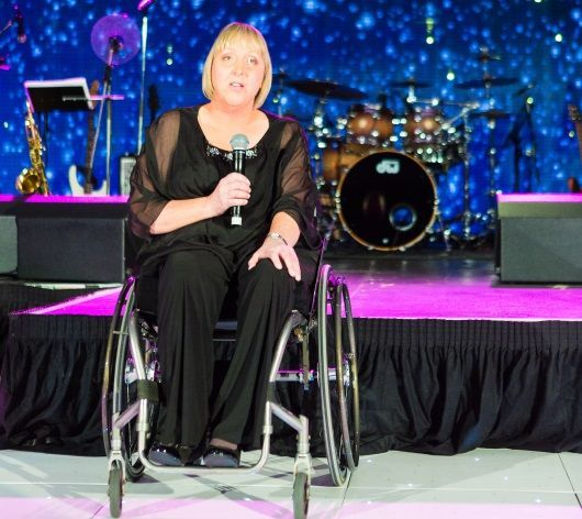 Joanna Martin at Digby Brown Winter Dinner Dance speaking about her spinal cord injury and recent achievements at the Invictus Games