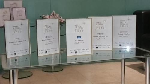 Our five Scott & Co. Legal Awards 2015 on display in the reception area of our Edinburgh office