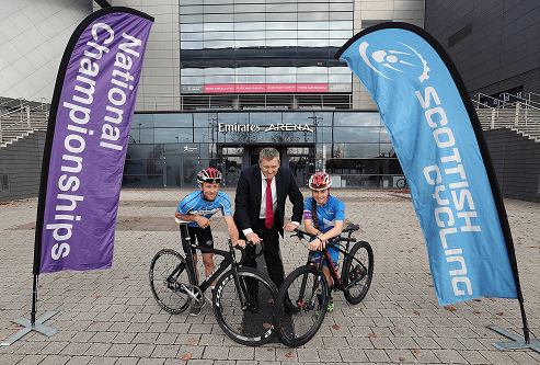 Digby Brown Chief Executive Fraser Oliver helping launch Scottish Cycling's Roll of Honour initiative