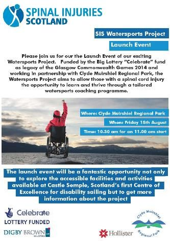 Spinal Injuries Scotland (SIS) launch Watersports event Flyer