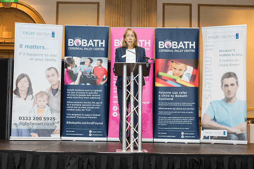 Sue Grant speaking at the start of the Bobath World Cerebral Palsy Day Conference