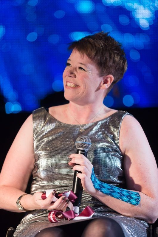 Joanna Butterfield, recent winner of Gold and Bronze medal at IPC World Championships in Doho, speaks at Digby Brown Winter Dinner Dance for Spinal Injuries Scotland