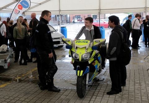 Pupils on police bike at Edinburgh Young Drivers 2013