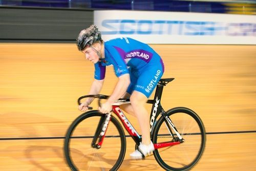 John Paul cycling around Velodrome