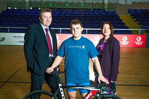 John Paul With Digby Brown CEO Fraser Oliver and Associate Solicitor Laura McManus at Velodrome