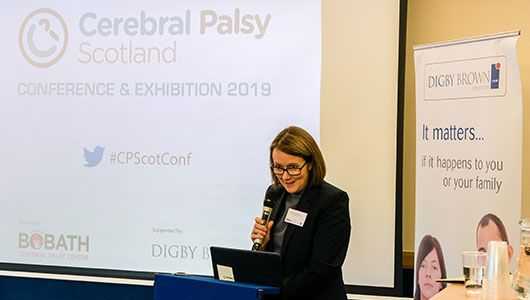 Stephanie Fraser speaking at Bobath Scotland Cerebral Palsy Conference 2019