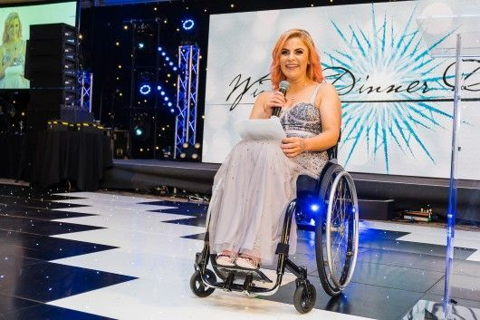 Laura Torrance from Spinal Injuries Scotland speaking at Winter Dinner Dance 2019