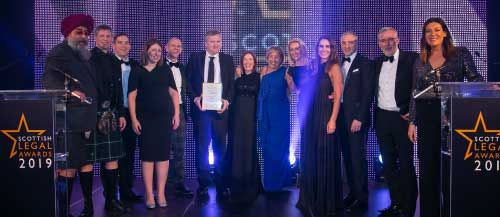 Digby Brown receiving Law Firm of Year Award at Scottish Legal Awards